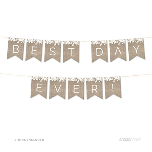 Andaz Press Burlap Lace Wedding Collection, Hanging Pennant Party Banner with String, Best Day Ever, 5-Feet, 1 Set, Includes String