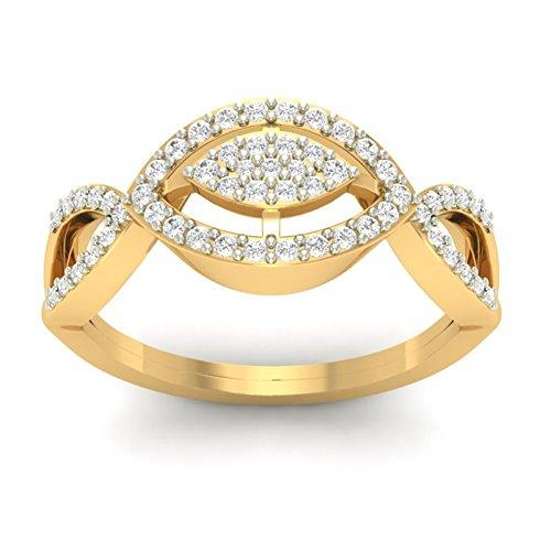 14K Or jaune 0,31CT TW Round-cut-diamond (IJ   SI) en diamant