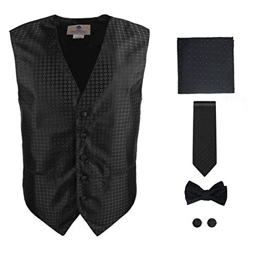 Mens Black Patterned Dress Vest Formal Vest for Wedding Gift Set Match Necktie for Men, Cufflinks, Handkerchief, Bow Tie for Tuxedo Y&G VS1028-L Large Black