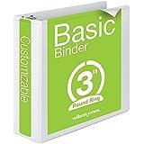 Wilson Jones Round Ring View Binder, 3 Inch, Basic, 362 Series, Customizable, White (W362-49W)
