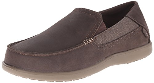 crocs Men's Santa Cruz 2 Luxe Leather M Slip-On Loafer, Espresso/Walnut, 11 M - Croc Suede Black