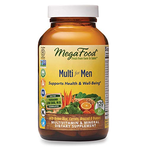 MegaFood, Multi for Men, Supports Optimal Health and Wellbeing, Multivitamin and Mineral Dietary Supplement, Vegetarian, 120 tablets (60 servings)