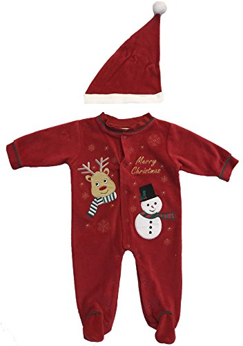 Just Love 3802-3-6M Baby Coveralls,Reindeer With Snowman (Sleeper Christmas First)