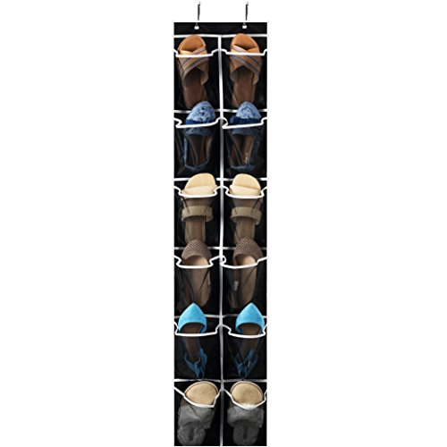 "Zober Over the Door Shoe Organizer - 12 Mesh Pockets, Space Saving Hanging Shoe Holder for Maximizing Shoe Storage, Accessories, Toiletries, Etc. No Assembly Required, Organizer for Shoes 571/2"" x 12"""