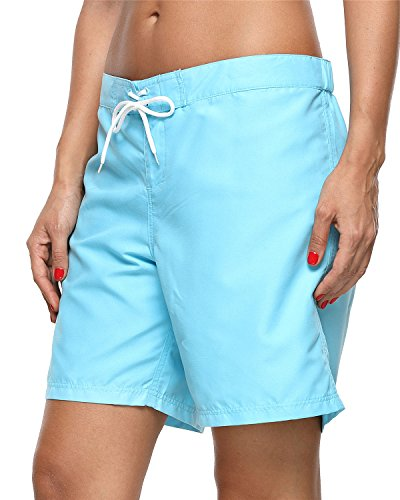 ALove Women's Loose Fit Swim Shorts Quick Drying Boardshorts Swimsuits Bottom Blue Medium by ALove (Image #4)