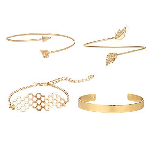Psunrise Pulsera Fashion Hollow Hexagonal Leaves Combination Bracelet Four-piece