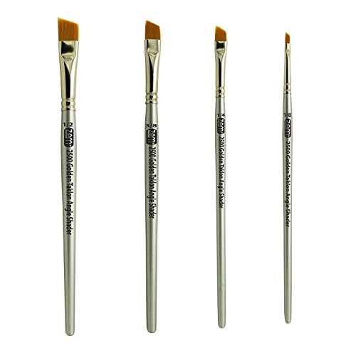 ZEM BRUSH Golden Taklon Angle Shaders Brush Set Sizes 1/8