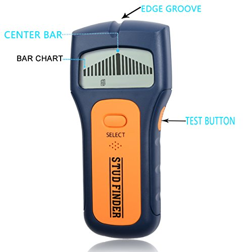 Stud Finder,FOLAI LCD Display Multi Scanning Multi Function Stud Sensor with Ergonomic Design,Detection Scanner for Wall Studs, Ac Wires and General Metals