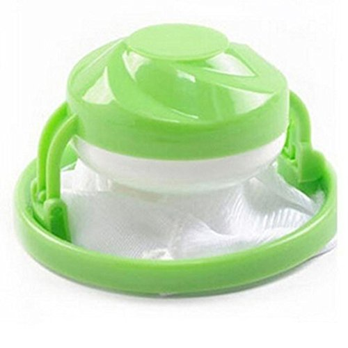 Hongxin Hot Sale Flower Shape Home Washing Machine Floating Net Bag Hair Removal Ball Debris Thread Cleaning Filter Net Lint Mesh Bag House Cleaning Tools (Green)