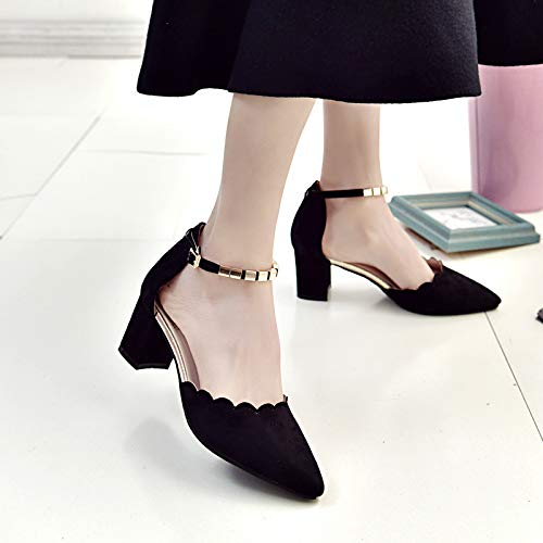 Yukun zapatos de tacón alto Zapatos De Las Mujeres Solteras Patrón De Las Mujeres Hebilla Lateral De Metal Tacones Altos De Jengibre Black
