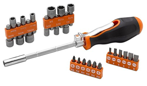 Multi Angle Screw Driver - 26 Piece Ratchet Driver, Bit And Socket Set (90 & 180 Degree Angle) – For Homeowner, Mechanic, Plumbers, Professionals, Handyman – By Katzco - Ratchet Nut Driver Set