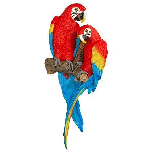 Design Toscano Tropical Scarlet Macaws Wall Sculpture, 22 Inch, Polyresin, Full Color