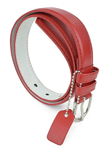 Fashion Belt Colored Belts PU Leather Belt For Girls 1 inch Dress Belt - Red/Large