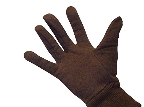 - Brown Jersey Gloves, Cotton Work Gloves, Womens Size, 12Pairs