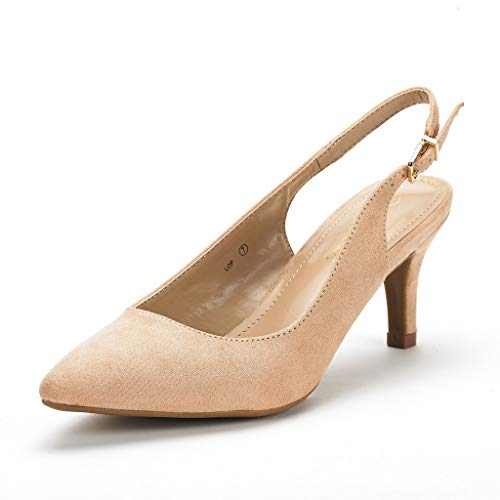 (DREAM PAIRS Women's LOP Nude Suede Low Heel Pump Shoes - 7 M US)