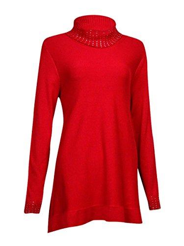 - Alfani Womens Embellished Ribbed Trim Turtleneck Sweater Red XL