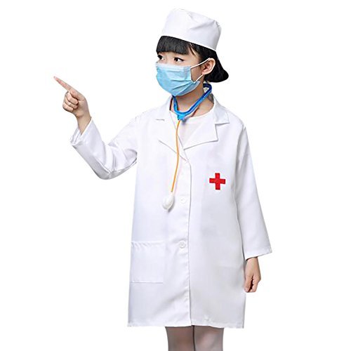 TopTie Kid's Lab Coat With Cap, For Kid Scientists or Doctors-White-3