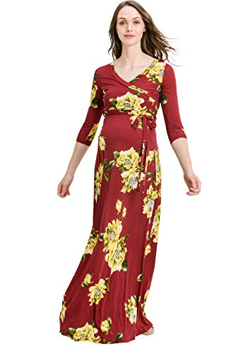Hello MIZ Women's Floral Print Draped 3/4 Sleeve Long Maxi Maternity Dress (Burgundy/Yellow, L)