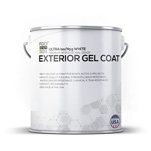 A.Schulman White GELCOAT Boat Paint, Polyester Exterior Gel Coat KIT, 1 Quart W/ 1 OZ MEKP, No Wax/Sanding, Professional Marine GELCOAT, Boat Exterior Hulls, Boat Interior Decking, DIY Projects ()