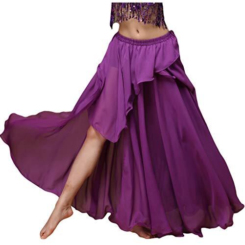 Belly Dance Circle Skirt - Wuchieal Women's Fairy Belly Dance Skirt Large Swing Skirts Women Belly Dancing Practice Skirt (Purple, One Size)