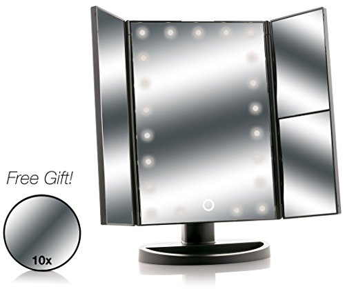 Asani Tri-Fold Lighted Magnification Makeup Mirror with a FR