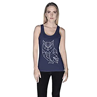 Creo Owl Animal Tank Top For Women - L, Navy