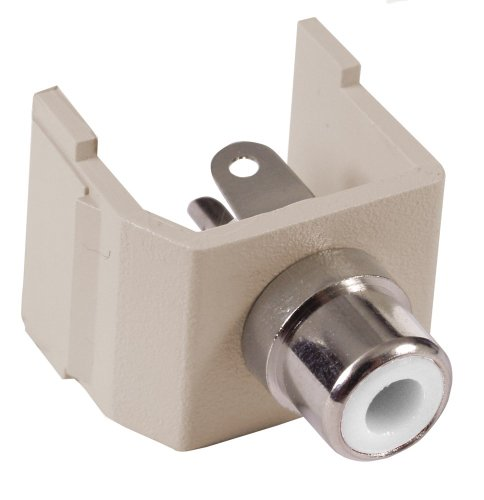 Hubbell Wiring Systems SFRCWAL Station Nickel Plated Brass Audio Video Keystone Connector with White Insulator, RCA Solder Coupler Termination, Almond
