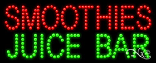 Smoothies Sign Led - 11x27x1 inches Smoothies Juice Bar Animated Flashing LED Window Sign