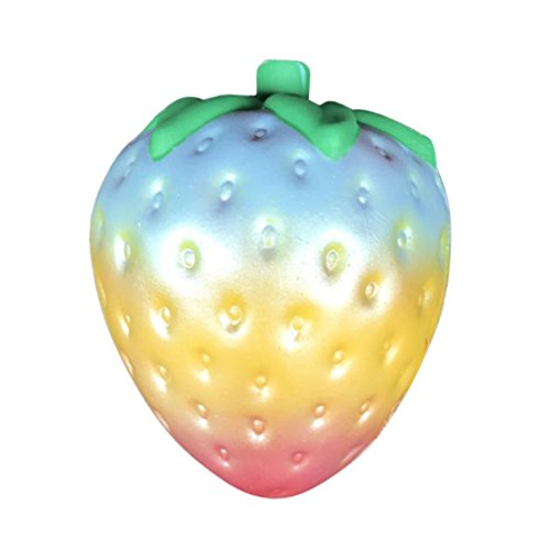 Febecool 1PC Rainbow Strawberry Squishy Super Jumbo Scented Slow Rising Rare Fun (Strawberry Bell)