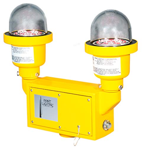 - Dual 120V LED FAA L-810 Obstruction Light, Red, Steady-Burning with Pre-Wired Photoelectric Controller