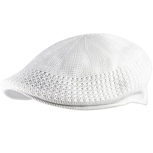 The Hat Depot Classic Mesh Newsboy Ivy Cap Hat (M, White)