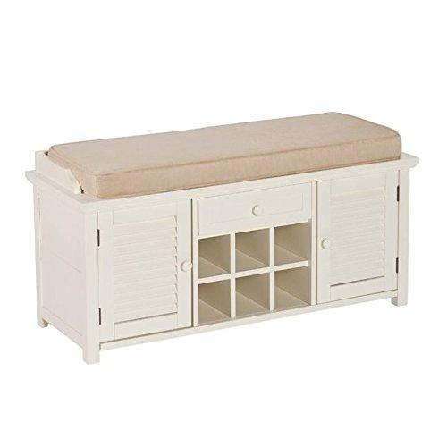Southern Enterprises Colter Shoe Storage Bench, Antique White Finish (Southern Enterprises Antique Storage Cabinet)