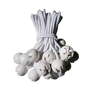 "BenefitUSA R4-White 9"" Ball Cord Tarp Tie Downs Bungee Canopy Gazebo Straps-100PCS Party Tent Straps: Garden & Outdoor"