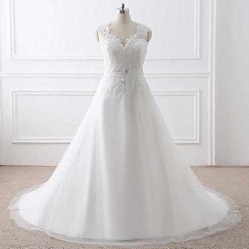Besswedding Blanc Longue Robe De Bal En Tulle De Demoiselle D'honneur Sans Manches Ivoire Amie Des Femmes