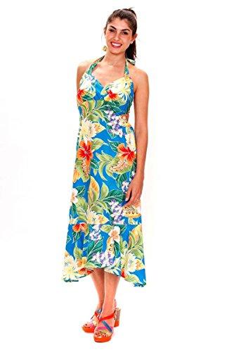 Blumen Pacific Sommer Hawaii Original Print Hawaiikleid XXL Legend Türkis Damen Türkis S aawTzrq
