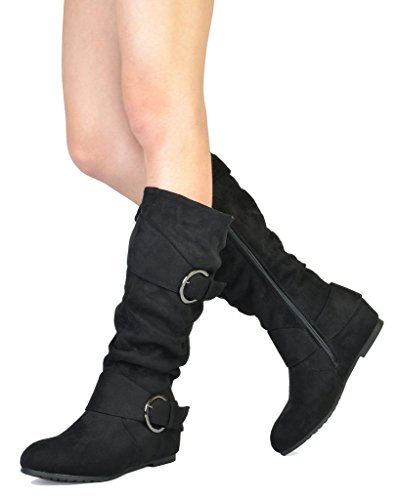 URA Black Suede Knee High Low Hidden Wedge Boots Wide Calf Size 7 M US ()