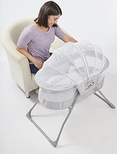 41KOlNpaKUL - Primo Cocoon Folding Indoor & Outdoor Travel Bassinet With Bag, Grey