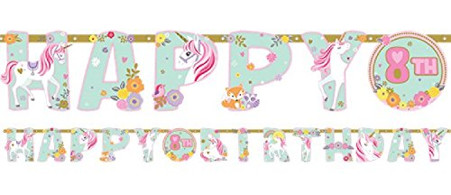 Girls Pretty Pastel Magical Unicorn Birthday Party Letter Happy Birthday Banned Personalised Age Celebration Paper Tableware Decorations (Letter ()