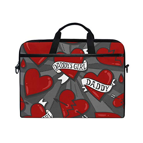 (PENGTU 15-15.4 Inch Laptop Bag Daddys Girl Heart Tattoo Seamless Pattern Shoulder Messenger Bags Sleeve Case Tablet Briefcase with Handle Strap)