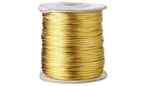 - 1mm Bugtail Satin Cord Mix Beading Shamballa Macrame Nylon 40ft 100ft or 210ft (40 Ft Card ANTIQUE GOLD)