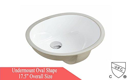 Oval Bath Sink (ARIEL 17.5 Inch Oval Undermount Vitreous Ceramic Lavatory Vanity Bathroom Sink Pure White)