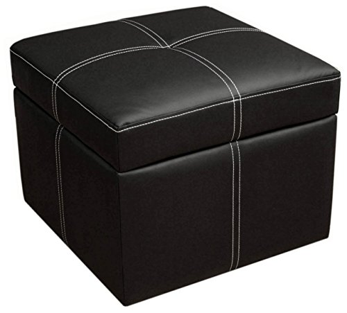 (DHP Delaney Small Square Ottoman with Storage, Rich Faux Leather, Black)