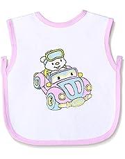 Jocky Printed Back-Tie Baby Bib - White and Pink