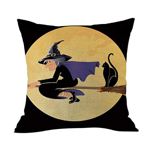 HYSGM Pillowcase Happy Halloween Party Pumpkin Cushion Case 18X18 Inches 45cm Home Decoration Linen Cushion Cover (K) (Chair King Hours)
