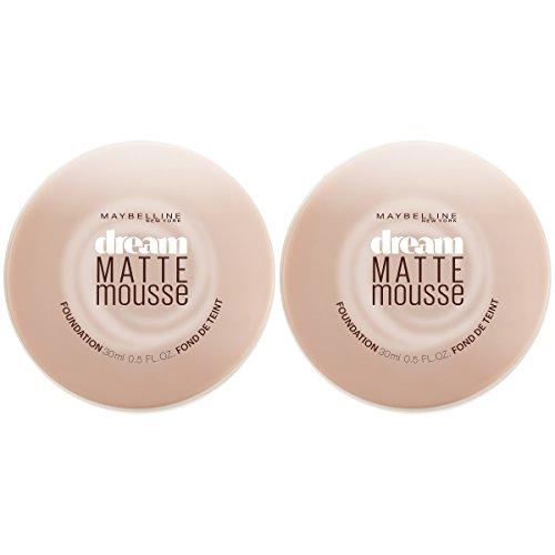 Maybelline New York Dream Matte Mousse Foundation Makeup, Creamy Natural, 2 Count