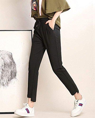 Abbigliamento Pantaloni Ragazza Moda Donna Coulisse Pantaloni Fit Lunghe Chic Primaverile A Matita Elastica Autunno Eleganti Slim Monocromo Pantalone Vita Nero Chino Hq1ZUUa