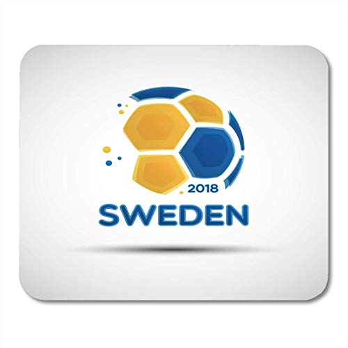 Mouse Pads Football Championship Flag of Sweden Abstract Soccer Ball with Swedish National Colors for Your Design Mouse Pad for Notebooks,Desktop Computers Office Supplies ()