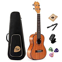 Tenor Ukulele, Mahogany Ukulele 26 inch Bundle, TOM ukulele for Beginner with Sapele Gig Bag and Ukulele Accessories