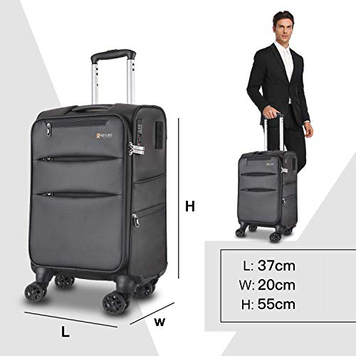 REYLEO Softside Hand Luggage Suitcase Nylon Cabin Lightweight Carry-on Hand Luggage Business Travel Trolley USB Charging Port and TSA Lock 8 Wheels(S( 55CM 37L))Black