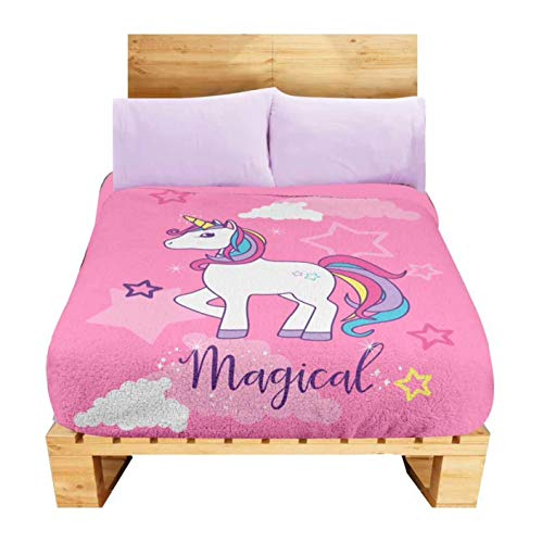 Cloud Fleece Comforter Twin - JORGE'S HOME FASHION INC Limited Edition Unicorn Stars Clouds Teens-Kids Girls Fleece Blanket and Sheet Set 4 PCS Twin Size